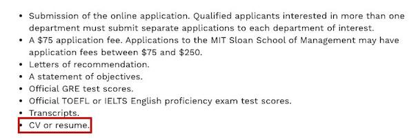 申请美国硕士简历MIT麻省理工
